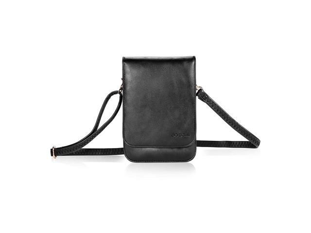 Bosam iPhone 11 pro max xs 8 Plus Purses, Soft Leather Cellphone-Bags-Crossbody-for-Woman with Shoulder Strap Touch View Window (Black) (921469668467 Electronics Communications Telephony Mobile Phone Cases) photo