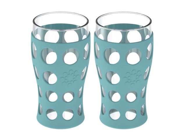 Lifefactory LG721AT4 20-oz 2-Pack 20 oz Indoor/Outdoor Glassware, Ounce, Aqual Teal photo