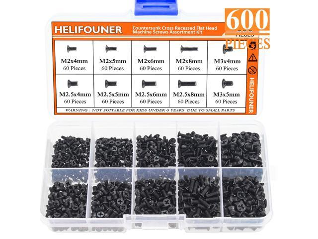 HELIFOUNER 600 Pieces M2 M2.5 M3 Phillips Flat Head Screws, Electronic Repair Screws for SSD, Laptop Notebook Computer photo