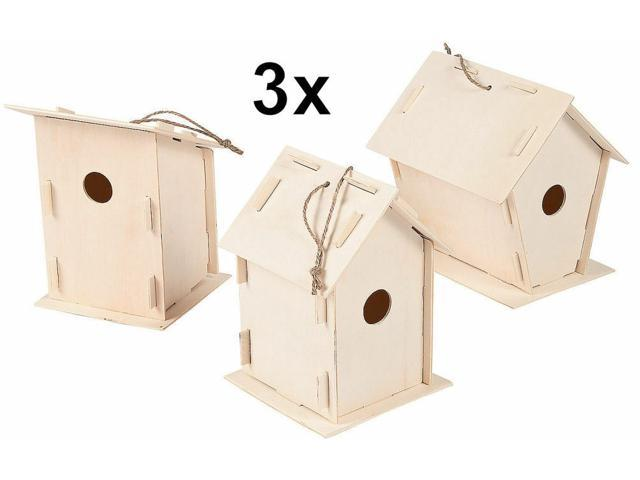 3 Unfinished Wood Bird Houses - Kids Wooden Craft DIY Project - US Seller - NEW (998382622418 Arts & Entertainment Arts & Crafts) photo