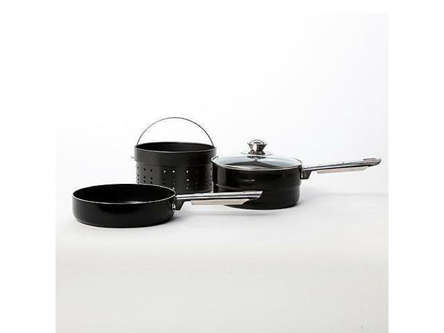 Gibson Glanford 4 Piece Stackable Aluminum Cookware Set BLACK photo