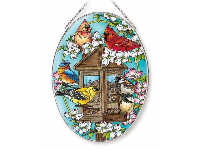 Birds Feeder Sun Catcher AMIA Hand Painted Large Oval Cardinals Finch Bluebird (974569013002 Home & Garden Decor) photo