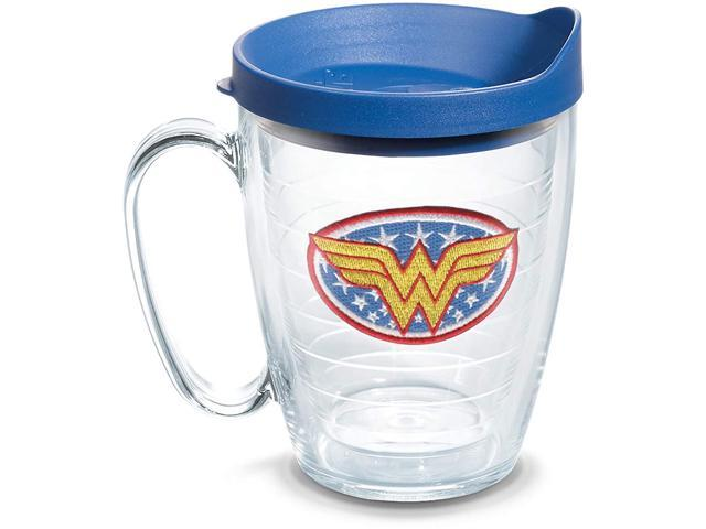 Tervis DC Comics - Wonder Woman Insulated Tumbler with Emblem and Blue Lid, 16oz Mug, Clear photo