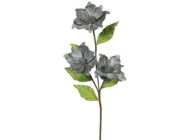 Vickerman 33' Pewter Magnolia Artificial Christmas Flower 6 per Box photo