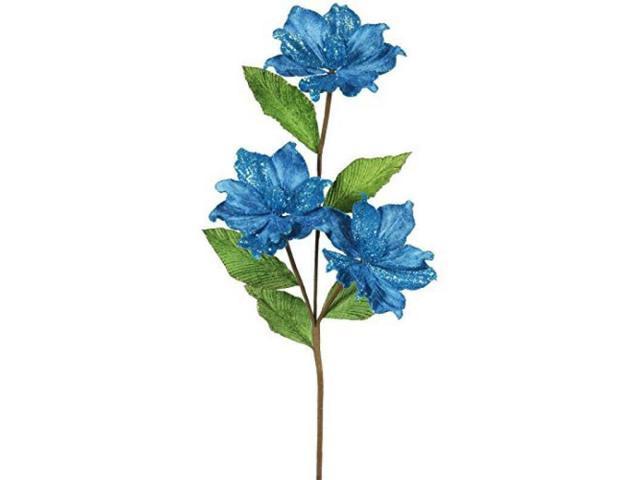 Vickerman 33' Turquoise Magnolia Artificial Christmas Flower 6 per Box photo