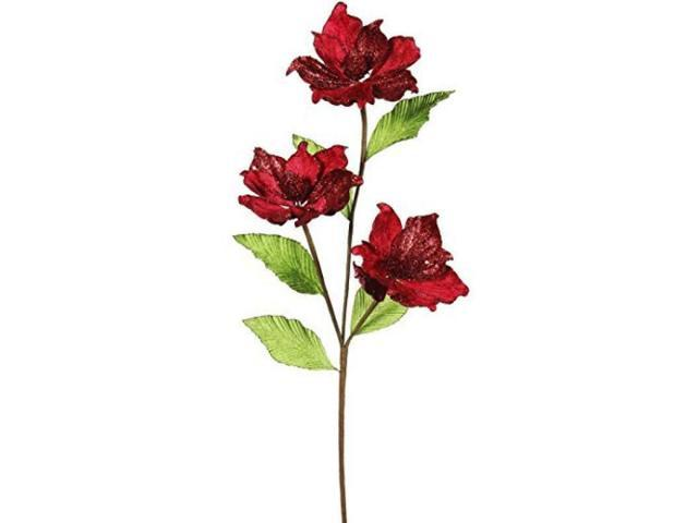 Vickerman 33' Red Magnolia Artificial Christmas Flower 6 per Box photo