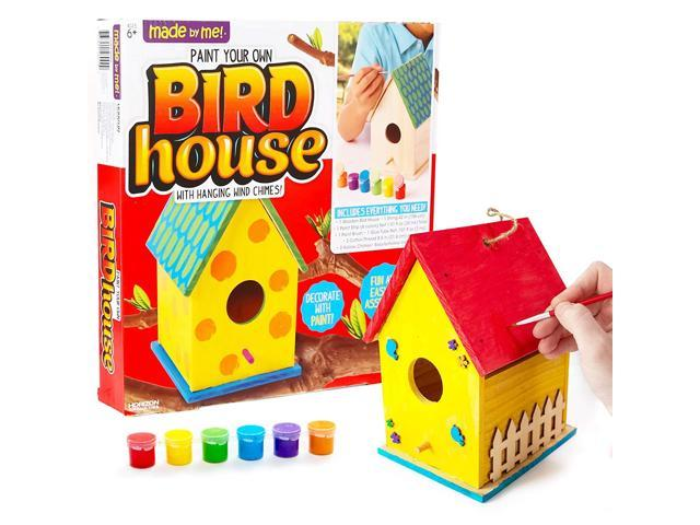 Made By Me Build & Paint Your Own Wooden Bird House Horizon Group USA, DIY Birdhouse Making Kit, Includes Paints, Brushes, Glue & Wind Chimes (993327474589 Toys & Games Games) photo