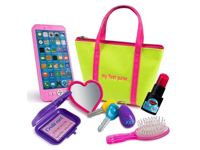 Kiddofun My First Purse - Kids Pretend Toy Hand Bag Includes Play Phone Keys Mirror Hairbrush Wallet Credit Card Lipstick - Great Gift Set for. (993327832280 Toys & Games Toys Pretend Play) photo