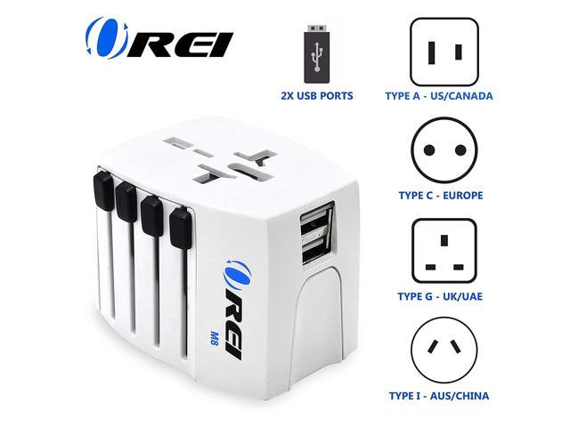 World Travel Adapter by OREI, International Power Plug for Worldwide Wall Charger with Dual USB Charging Ports for Cell Phones, Laptop, Camera. photo