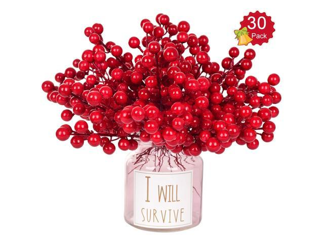 Lvydec 30pcs Artificial Red Berry Picks - Christmas Holly Berry Branches Red Berry Stems for Holiday Home Decor and Crafts photo