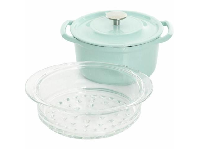 Kenmore Cast Iron Dutch Oven With Lid and Steamer 3-Quart Glacier Blue photo