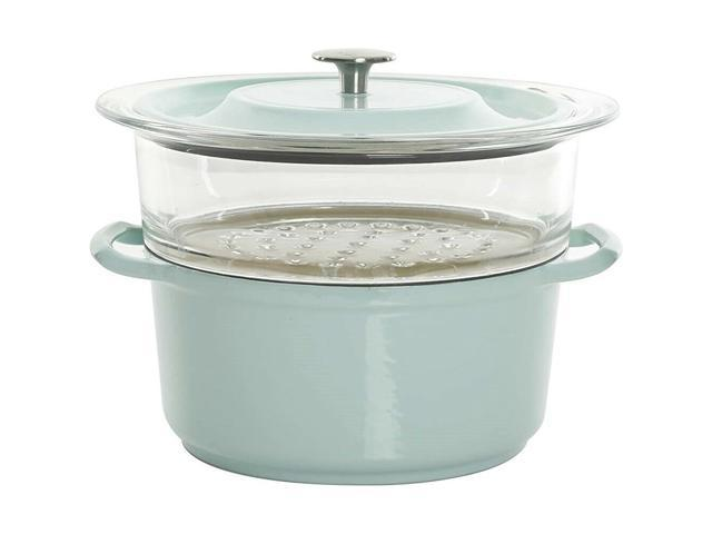 Kenmore Cast Iron Dutch Oven With Lid and Steamer 5-Quart Glacier Blue photo