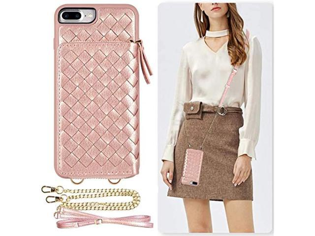LAMEEKU iPhone 8 Plus Wallet Case with Crossbody, iPhone 7 Plus Zipper Wallet Case with Card Holder, Braided Design Purse Case with Wrist Strap for. (921469832912 Electronics Communications Telephony Mobile Phone Cases) photo