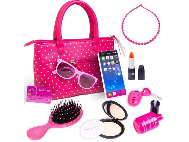 PixieCrush Pretend Play Kid Purse Set for Girls with Handbag, Pretend Smart Phone, Keys with Remote, Pretend Makeup, Lipstick - Interactive & . (921468819020 Toys & Games Toys Activity Toys) photo
