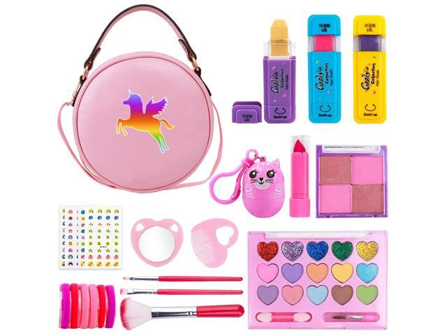 Girls Makeup Kit - Real Makeup Palette Set with Purse, Hair Chalks, Lipstick/Blush/Brush - My First Purse Toy Gift for Princess Little Girls. (921466130776 Toys & Games Toys Activity Toys) photo