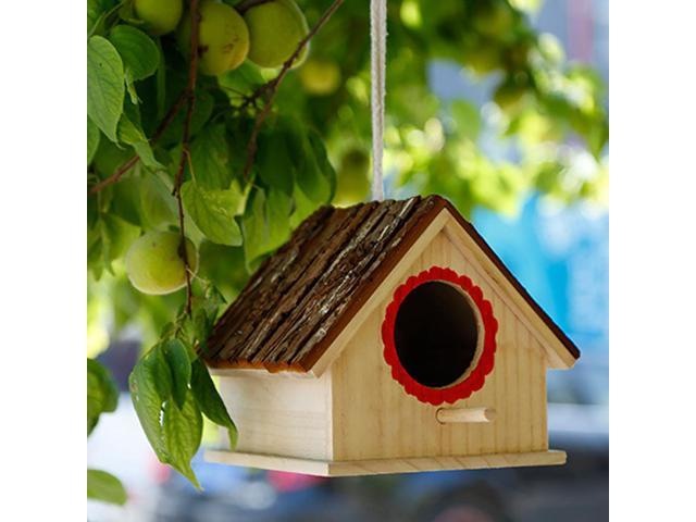 Wooden Bird Nest Eco-friendly Simulated Bark House Shape Rope Home Decor Tree DIY Garden Cabin Hanging Cage For Parrot (Electronics Computers Handheld Devices Pdas) photo