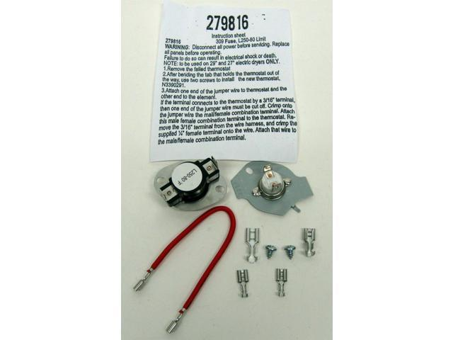 Thermostat Thermal Fuse Kit for Whirlpool Kenmore 279816 3390291 3977393 photo