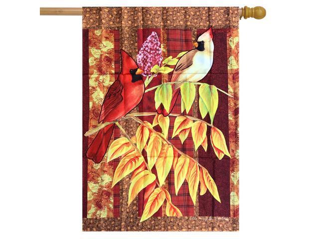 Plaid Cardinals Fall House Flag Autumn Birds 28' x 40' (998390722131 Home & Garden Decor) photo