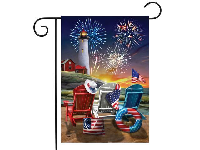 Beachfront Fireworks Fourth of July Garden Flag Patriotic Nautical 12.5' x 18' (998387437574 Home & Garden Decor) photo