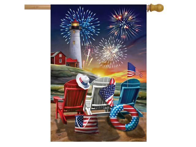 Beachfront Fireworks Fourth of July House Flag Patriotic Nautical 28' x 40' (998387437567 Home & Garden Decor) photo