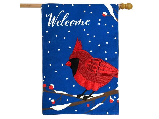 Cardinal Winter Burlap House Flag Welcome Bird 28' x 40' Briarwood Lane (998387436157 Home & Garden Decor) photo