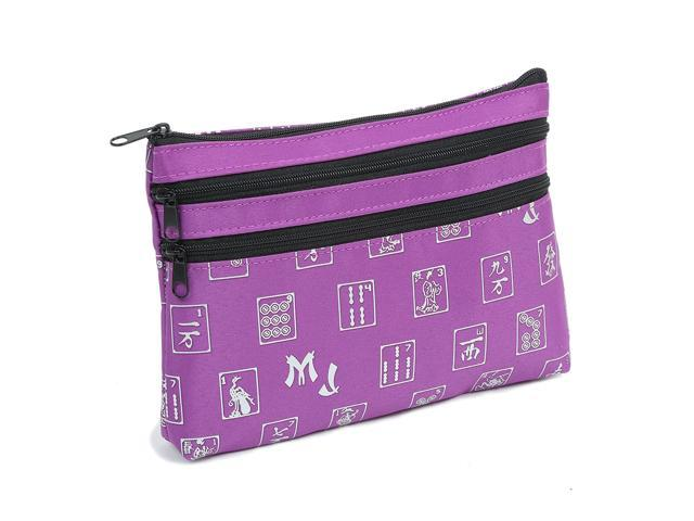 Mah Jongg Purple Logo Pattern 3 Zipper Mah Jong Purse for Mahjong Card (921468612515 Toys & Games Games) photo