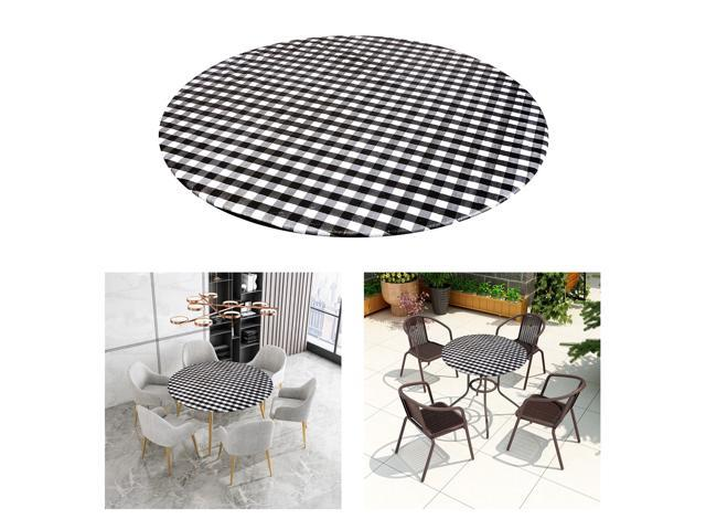 ROUND Wipe Clean PVC Tablecloth Oilcloth Vinyl Oilcloth - 40-56 inch Circle Suitable for 45-56in diameter Black Plaid (808729869669 Home & Garden Bathroom Accessories Medicine Cabinets) photo