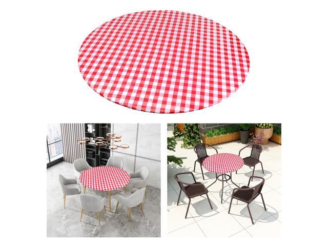 ROUND Wipe Clean PVC Tablecloth Oilcloth Vinyl Oilcloth - 40-56 inch Circle Suitable for 40-44in diameter Red Plaid (808729963053 Home & Garden Bathroom Accessories Medicine Cabinets) photo