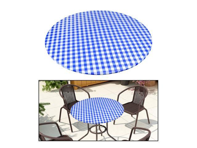 ROUND Wipe Clean PVC Tablecloth Oilcloth Vinyl Oilcloth - 40-56 inch Circle Suitable for 40-44in diameter Blue Plaid (825201902546 Home & Garden Bathroom Accessories Medicine Cabinets) photo
