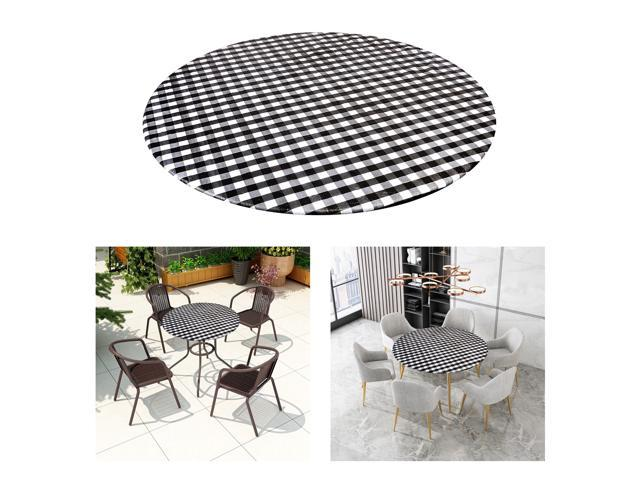 ROUND Wipe Clean PVC Tablecloth Oilcloth Vinyl Oilcloth - 40-56 inch Circle Suitable for 40-44in diameter Black Plaid (808729946735 Home & Garden Bathroom Accessories Medicine Cabinets) photo