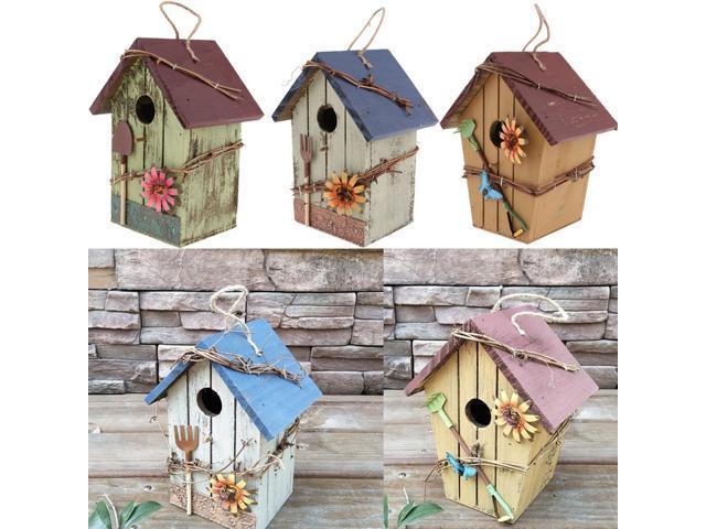 3Pcs Country Cottages Wood Bird House Hanging Birdhouses Condo Garden Decor (787832440005 Home & Garden Lawn & Garden Outdoor Living) photo