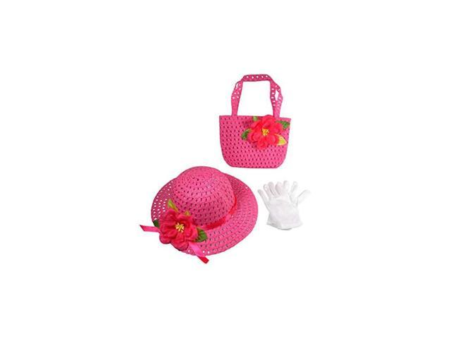 Girls Tea Party Dress Up Play Set with Sun Hat Purse and White Gloves Bright Pink (Toys & Games Toys Pretend Play) photo
