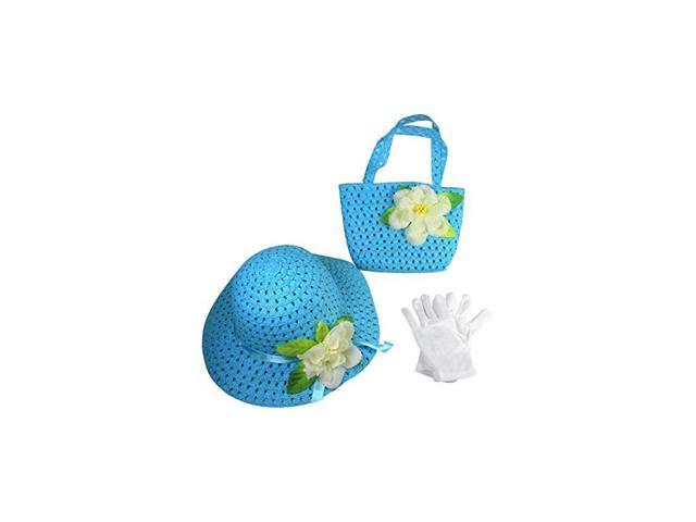 Girls Tea Party Dress Up Play Set with Sun Hat Purse and White Gloves Blue (Toys & Games Toys Pretend Play) photo
