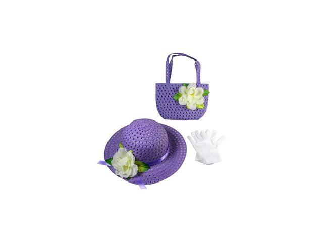 Girls Tea Party Dress Up Play Set with Sun Hat Purse and White Gloves Purple (Toys & Games Toys Pretend Play) photo