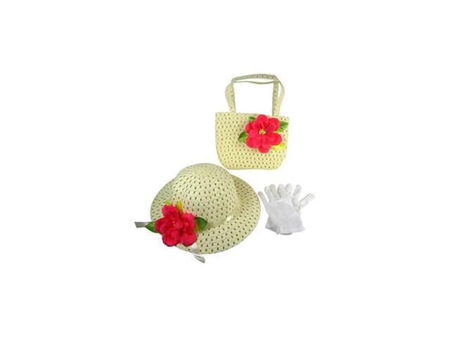 Girls Tea Party Dress Up Play Set with Sun Hat Purse and White Gloves Ivory with Red Flowers (Toys & Games Toys Pretend Play) photo