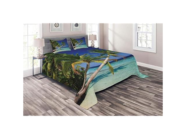Ocean Coverlet Maldives Bay Paradise Resort Summer in Pacific Holiday Destinations 3 Piece Decorative Quilted Bedspread Set with 2 Pillow Shams. (Home & Garden Household Supplies) photo