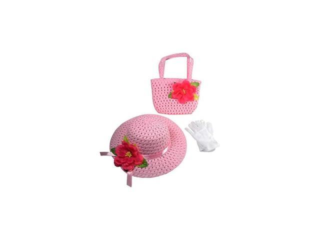 Girls Tea Party Dress Up Play Set with Sun Hat Purse and White Gloves Light Pink (Toys & Games Toys Pretend Play) photo