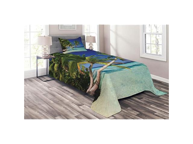 Ocean Coverlet Maldives Bay Paradise Resort Summer in Pacific Holiday Destinations 2 Piece Decorative Quilted Bedspread Set with 1 Pillow Sham Twin. (Home & Garden Household Supplies) photo