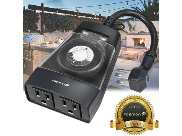 [ETL Listed] 24Hour Plug In Outdoor 2 Outlet Timer Weatherproof Automc Switch