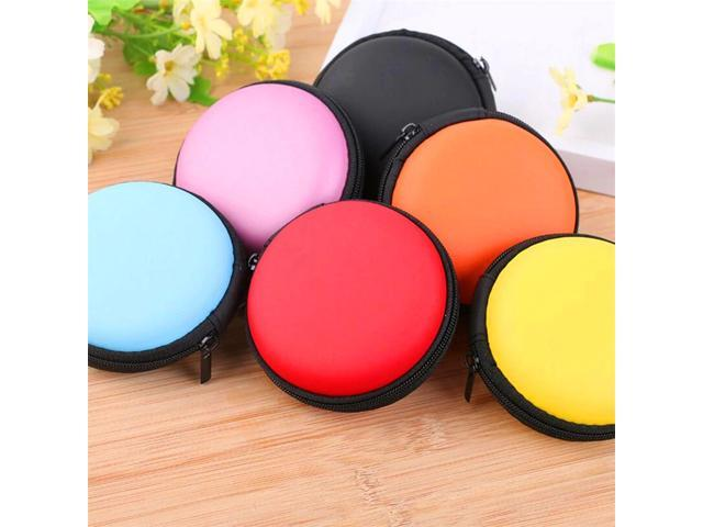 Mini Zipper Earphone Headphone Case SD Card Storage Bag Box Carrying Pouch Round Case Women Coin Purses Wallet (Electronics Communications Telephony) photo
