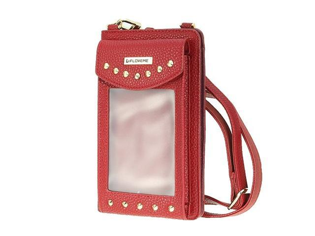 6.3inches Phone Bag PU Leather Portable Wallet Card Holder Purse #red - Wine red {average size} (Electronics) photo