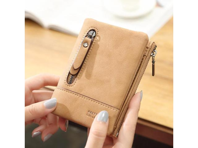 Women PU Leather Hasp Short Wallet 6 Card Slots Changes Purse - Light brown {one size} (Electronics) photo