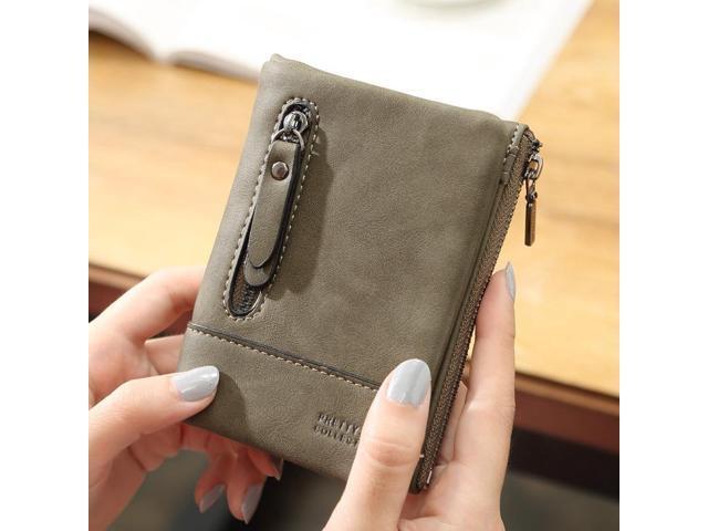 Women PU Leather Hasp Short Wallet 6 Card Slots Changes Purse - Dark green {average size} (Electronics) photo