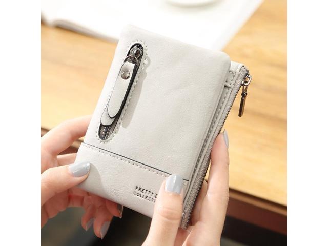 Women PU Leather Hasp Short Wallet 6 Card Slots Changes Purse - Smoke grey {average size} (Electronics) photo