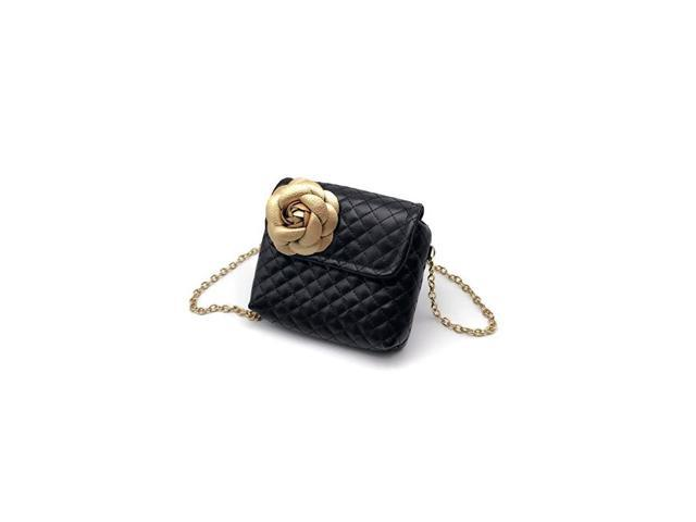 Kids Girl Quilted Leather Crossbody Handbag Purse Chain Bag Little Girl Metal Chain Strap Bag Black with Gold Flower (Baby & Toddler) photo