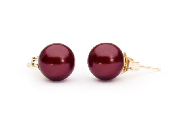 The Pearl Outlet 8mm 14k Gold Posts Aaa Cranberry Red Freshwater Earrings
