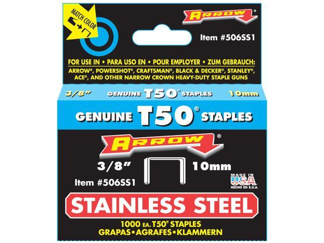 Arrow Fastener 506SS1 Genuine T50 Stainless Steel 3//8-Inch Staples New 1,000-Pack