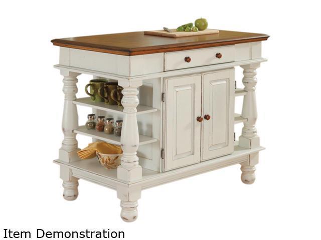 Home Styles 5094-94 Americana Antiqued White Kitchen Island