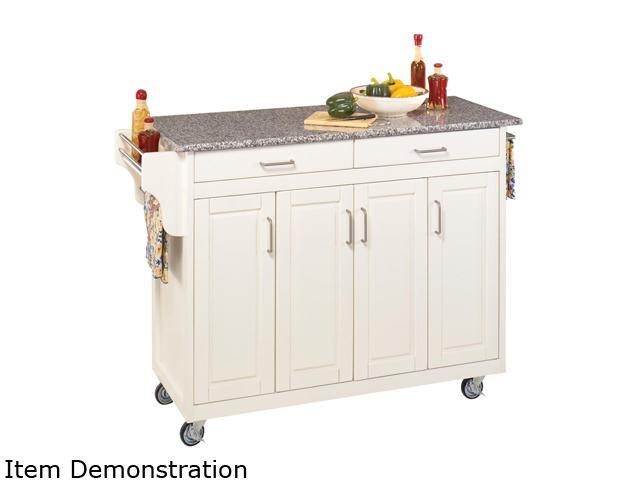 Home Styles 9200 1023 White Kitchen Cart With Gray Granite Top