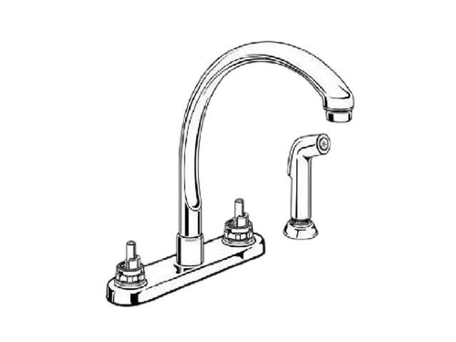 DELTA 2476-LHP Classic Two Handle Waterfall Kitchen Faucet With Spray  Chrome Kitchen Faucet - Newegg.com